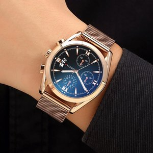 2020 Uhren Quarz-Uhr-Edelstahl Zifferblatt beiläufige Bracele Uhr Round Smart Business Clock Reloj de los hombres Dial