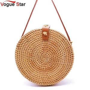 2019 boêmio balinês sacos de vime para as mulheres pequeno círculo bolsas de praia verão saco de palha do vintage handmade messenger bag l26