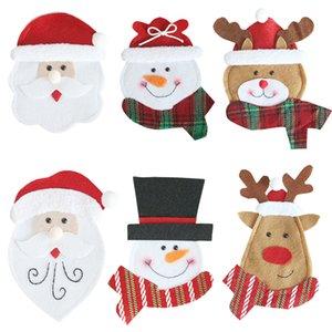Titulares Decorações de Natal Talheres de Santa Snowman Elk Fork Faca Pockets Xmas Faqueiro Bag Jantar Decor Tabela Decoração JK1910