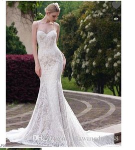 Spaghetti Strap Lace Mermaid Court Train Wedding Dress