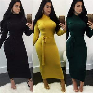 Luxe Femmes Robe de mode d'hiver Slim Bonneterie Robes Designer Womens Robe couleur unie