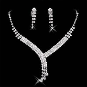 15023 Nuovi monili della collana dell'orecchino Set sposa economici nuziale di promenade del cocktail dei vestiti da sera in strass della