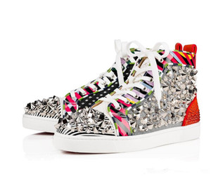 Zapatos inferiores rojos con pinchos diseñador de moda hombres de la marca de mezcla con picos de zapatos de cuero de mujeres hombres zapatillas de deporte Patente de rayas Rhinestone Zapatos Strass