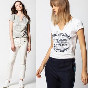 Verano 2020 Nicho Nueva francesa Zadig con monograma del diamante caliente U botón de collar de puro algodón de manga corta de la camiseta para las mujeres