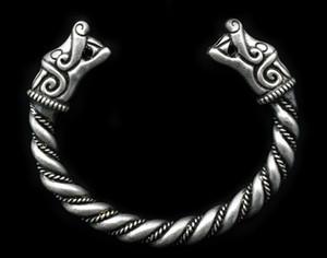 3pc antique bracelet tordu en argent viking totems loups bracelet nordique loup viking, corbeau / sanglier / bracelets joncs dragons