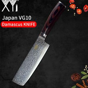 XYj Nakiri Couteau Damas 67 couches VG10 Acier damasqué Couteaux de cuisine 7 pouces Ergonomique Poignée Poignée en bois Couteau à découper