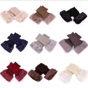 Malha Bota punhos Fur malha chapéus de coco de inicialização Meias Meninas joelho Furry Legs Mulheres manga Inverno aquecedores meias curtas Tubo D6256 Acessórios 8 cores