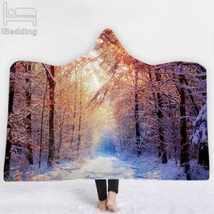 39 Estilos de Woods River Forest Mountain Lake 3D Impreso felpa con capucha Manta para camas calientes de felpa suave usable banda Mantas