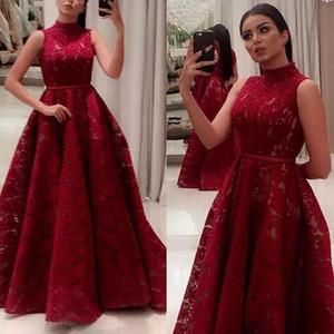 Saudi Arabisch Dubai Dunkelrot Prom Party Kleider 2019 Stehkragen A Line Lace Abendkleider mit Gürtel Women Pageant Red Carpet Kleider