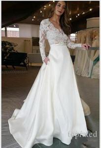 화려한 섹시한 하얀 웨딩 드레스 레이스 Appiques V 목 라인 긴 소매 탑 새틴 스커트 웨딩 드레스 신부 드레스 Vestidos 드 Noiva