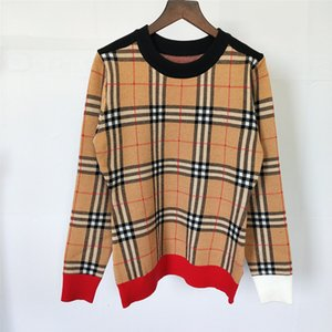 Europe and the United States 19 autumn and winter new hit color plaid round neck long-sleeved knit shirt spot real shot