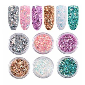 6colors set Shiny Nail Laser Glitter powder sequins Holographic Fine glitter nail art tips decoration Manicure Accessories