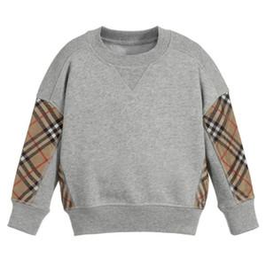 kids splicing lattice long sleeve casual pullover Baby Boys plaid sweatshirt pullover children cotton jumper kids clothes