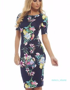 Hot Sale Women Dress Elegant Floral Print Work Business Casual Party Summer Sheath Vestidos Free Shipping JH01
