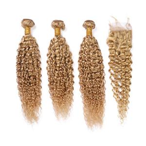Honey Blonde малазийский Девы волос ткет с закрытием Kinky завитого 3Bundles с Closure # 27 Светло-коричневый человек утками волоса с Lace Closure
