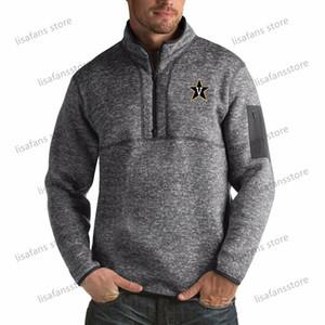 Вандербильт Commodores пуловер Кофта мужского Форчун Big Tall Quarter-Zip Pullover Жакеты прошитых Американского футбол Спорт толстовка