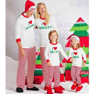 Meihuida Family Matching Christmas Pajamas Set Women Men Adult Xmas Soft Cotton Stripe Letter Printing Sleepwear Nightwear