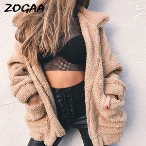 ZOGAA Элегантный искусственного меха Пальто женщин 2020 Осень Зима теплая мягкая Zipper норки Женский Плюшевые Шинель вскользь Верхняя одежда