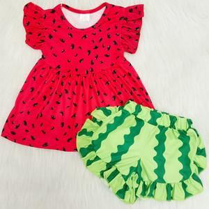 2020 Çocuk Butik Giyim Kız Yaz Kıyafetler Süt Ipek Bebek Küçük Kız Elbise Pantolon Seti Yürüyor Çocuk Yaz Giysileri Kıyafetler Kırmızı
