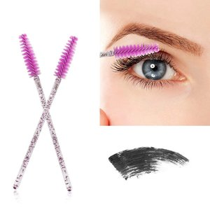50pcs Glitter Eyelash Mascara Silicone Brush Shiny Disposable Eyelash Applicator Wands Curler Brush Mascara Eyebrow Spoolers Comb Brushes