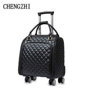 """Seyahat Çantalarda Chengzhi 16"""" İnç Kadın yüksek kaliteli PU deri Çantalar Bavul Tekerlekler Carry"""