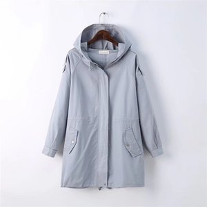 BIUZKO Solid Loose Hooded Trench Coat para mujer estilo lindo de Japón para mujer rompevientos Harajuku Safari estilo diseñador otoño abrigo
