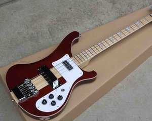 Factory Custom 4 Strings Electric Bass Guitar with Neck Thru Body Maple Fingerboard Chrome Hardwares 2 Pickcups Offer Customized Free Ship