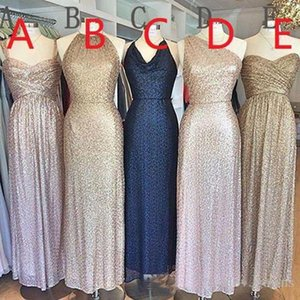 Mixed Style Sparkly Sequined Bridesmaid Dresses Plus Size Wedding Party Gowns robe d'invité de mariage Custom Made
