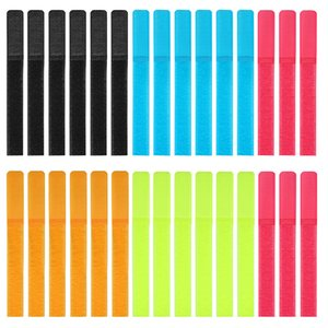 Reusable Cable Ties,Pack Of 30 Hook And Loop Fastener With Five Colors For Cable Sorting Of Wired Headsets,Mobile Phones,And Computers