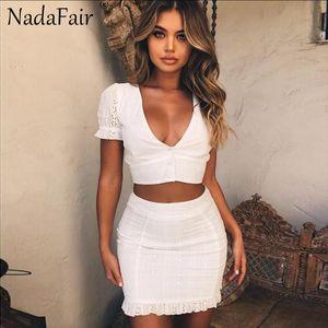 Nadafair weiß v-ausschnitt spitze aushöhlen frauen sommerkleid casual rüschen zwei stück set vestidos
