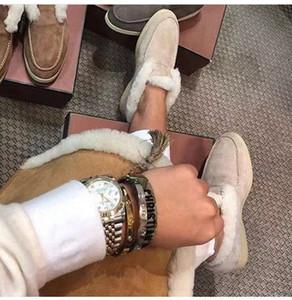 Düz topuk Gerçek Deri doğal kürk moda ayakkabı bayan ayakkabı zambak ayakkabı kar botları düşük ayak bileği kadınları popüler LP kar botları ins