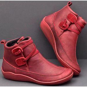 New Mulheres botas de couro sapatos casuais High Top Inverno Bota Primavera sapatos baixos curtas Carregadores de Brown Com Pele 2020 cor Pure Tamanho 35-43S