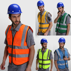 Emniyet Giyim İki Renkli Reflektif Yelek Ceket Yansıtıcı Ayarlanabilir Güvenlik Yüksek Görünürlük Yelek Dişli Stripes Çalışma ceket Tops