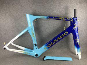 Colnago Concept CHDB Cadre Carbon Cadre Bleu Cadre de vélo de fibre de carbone brillant + SEATPOST + Fourche + pince + casque