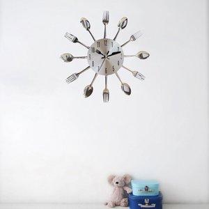 Paslanmaz Çelik Bıçak Çatal Kaşık Kitchen Restaurant Duvar Saati Ev Dekorasyon Duvar Saatleri Çok Fonksiyonlu Araçları Duvar Saatleri