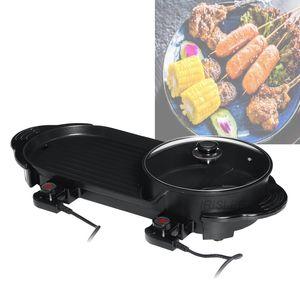 2020 2 en 1 eléctrico Hot Pot Horno Barbacoa Multi Olla Cacerola sin humo de la barbacoa plancha antiadherente Shabu Pot Hotpot Hornear Plate