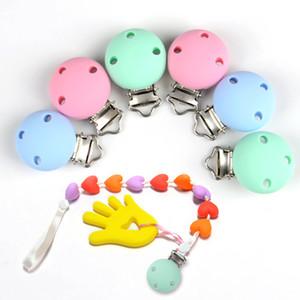 10 개 / 대 라운드 모양의 젖꼭지 클립 실리콘 구슬 아기 Teether 젖니 액세서리 클립 젖꼭지 클램프 장난감 Diy 도구