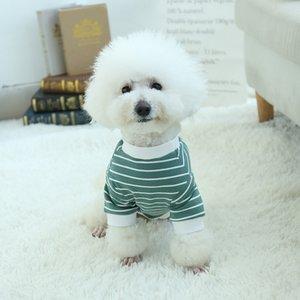 Tide-Streifen-Haustier-T-Shirts 2020 2 Farben Hunde-Bekleidung Qualitäts-Baumwolle Haustier Kleidung Teddy Katze Kleidung