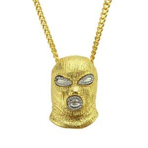 Hip Hop CSGO Anhänger Halskette Herren Punk Stil Anti-Terrorismus Headset 18 Karat Legierung Gold Silber Überzogene Maske Kopf Gold Silber Und Schwarz