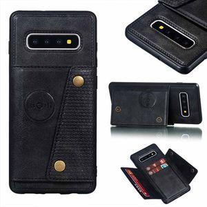Porte-monnaie PU Pu en cuir Stand Silicone Cas de téléphone pour Samsung Galaxy S10 S8 S9Plus Note 10 A6 A7 J4 J6 PLUS Slot Slot Flip Couvercle