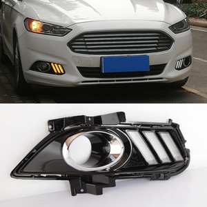 1 Pair Yellow Turning Signal Relay Waterproof Car DRL Lamp LED Daytime Running Light For Ford Mondeo Fusion 2013 2014 2015 2016