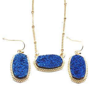 Designer MICHAEL KENDRA drusy druzy Colar Dangle conjunto de jóias Brincos Wedding Party banhado a ouro druso Choker Mulheres