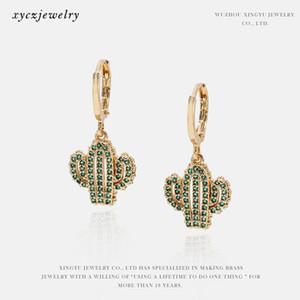 Kaktus-Ohrringe für Frauen Green Cactus Silber Gold Ohrringe Earbob Stud Pflanze Ear Zubehör des neuen Entwurfs