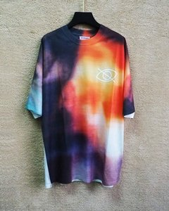 Beauty tide PALM tie-dye phantom color shirt ANGELS PA casual sports loose round neck short sleeve T-shirt men and women