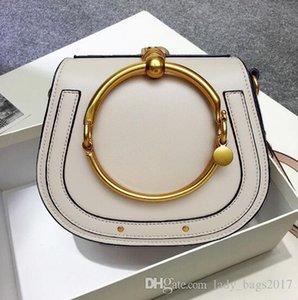 Summer New Genuine Leather Handbag Bag Metal Ring package saddle metal nile handle bag Bracelet bag Female Shoulder Messenger Crossbody Bags