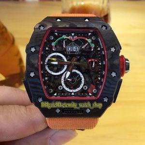 Alta Qualidade RM 50-03 McLaren F1 Esqueleto Dial automático RM 50-03 Men Watch NTPT Fibra de Carbono Caixa alaranjada Nylon couro Correia Desporto Relógios