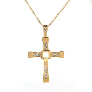 En Kaliteli Hızlı ve Öfkeli Ünlü Moda 24 K Altın Kristal İsa Haç Kolye Kolye Erkek Kadın Takı