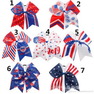 "7 ""4 de julho rabo de cavalo faixa de cabelo arcos bandeira americana fitas de fita brilho rugby bowknot menina titulares acessórios"