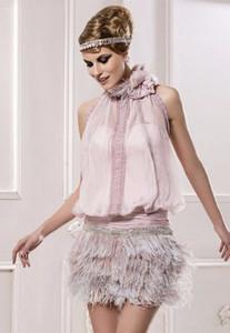 Neue moderne Rosa hohe Ansatz weg vom Schulter-Rock-Sleeveless Heimkehr kleidet Chiffon- Partei-Kleider Abendkleider