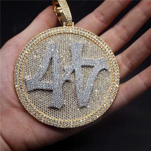 Iced Out Nombre 44 de grande taille collier pendentif diamant ronde en or 18 carats plaqué Hommes HipHop Bling Bijoux Cadeau